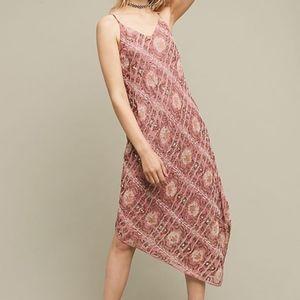 Anthropologie Floreat Pink Beaded Lilou Slip Dress